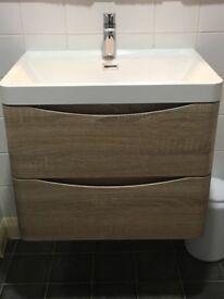 Light Oak 600mm Wall Hung Vanity & Basin