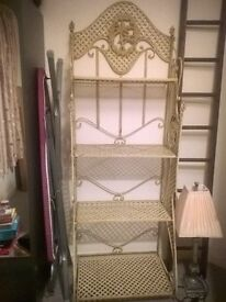 Wrought iron decorative shelving unit