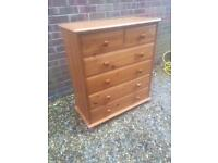 Lovely solid pine chest of drawers.