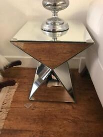 Glass lamps and glass side tables