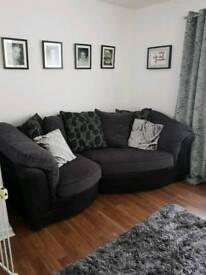 Grey and black sofa and chairs