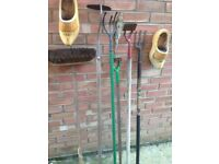 SELECTION OF GARDEN TOOLS FROM £3 HOES ,CULTIVATOR,BROOM ,VARIOUS PRICES