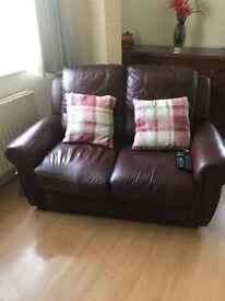 2 & 3 brown leather sofa