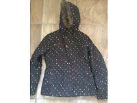 BURTON Society Dryride Women's Size L Black Polka Dot Snowboard Ski Jacket