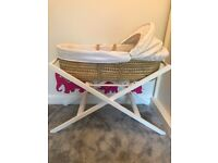 John Lewis Moses Basket with White Stand plus mattress