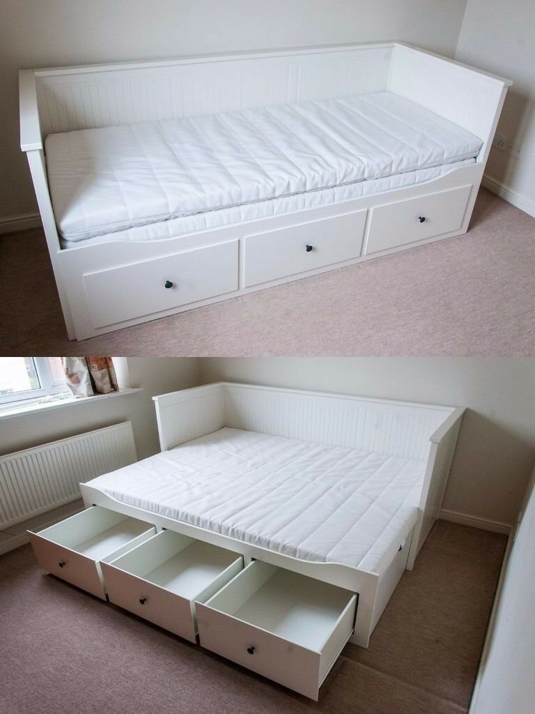 ikea hemnes cream white daybed double king size bed with. Black Bedroom Furniture Sets. Home Design Ideas