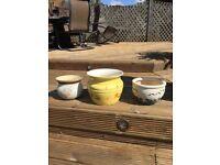 Three crock garden pots