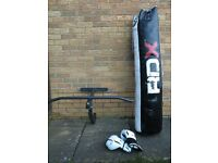 Punch Bag, Never Used Boxing Gloves and Never Used Punch Bag Bracket With Pull Up Bar