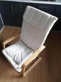 Lightweight armchair in cream with wood arms/base