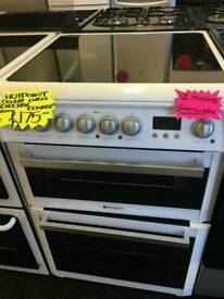 HOTPOINT 60CM ELECTRIC DOUBLE OVEN COOKER IN WHITE