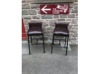 Pair of industrial style bar stools with leather seats * free furniture delivery *