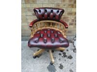 Burgundy leather chesterfield captains chair yew/light wood frame