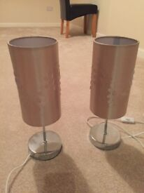 2 x matching lamps with gold shades