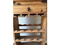 Wooden wine rack with drawer, space for 16 bottles plus slots for glasses