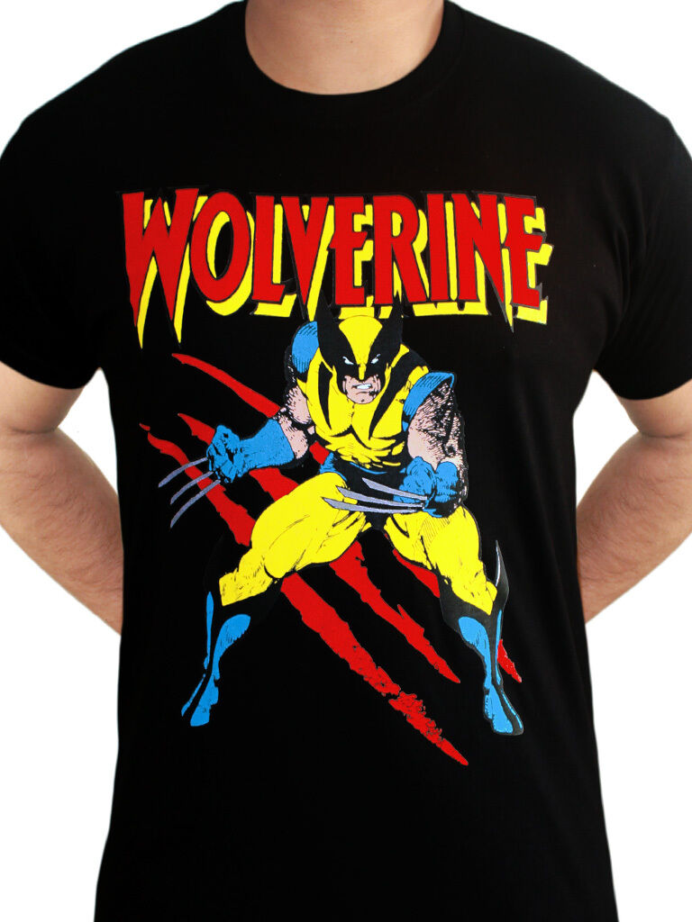 f283eb03 Wolverine Scratches X-men Avengers Official Marvel Comics Black Mens T-shirt