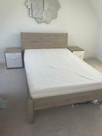 Double bed, chest of draws, bedside cabinets and matress