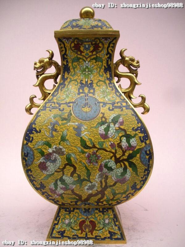 100% Pure bronze Cloisonne 24K Gold imperial family peach Lucky Dragon Pot Vase