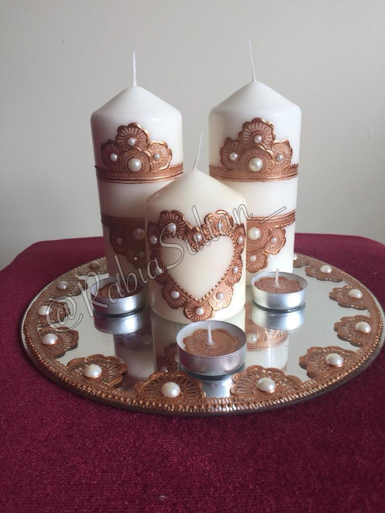Personalised Henna Candles Set Mehndi Thaal In Sparkhill West