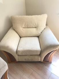 Cream single arm chair