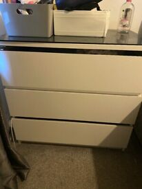 Malm 3 drawers with glass top x 2