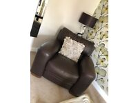 Excellent condition 3 piece suite in brown real leather