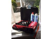 GoSystem - Camping stove, red and black, w/ gas bottles