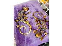 Metal art work lizards