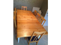 Scandi style kitchen table and a set of 8 beech chairs
