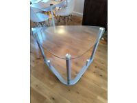 Glass corner desk, silver metal legs with black wheels, great condition