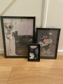 3 IKEA picture frames and prints