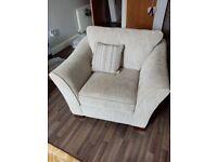 Cream Fabric Large Armchair