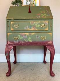 Antique Vintage Writing Bureau Desk Hand Painted Upcycled Drawers Dresser Sideboard Solid Wood