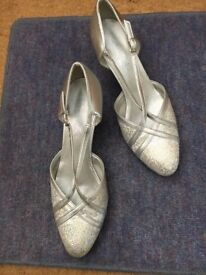 Silver ballroom dancing shoes