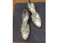 Silver ballroom dancing shoes