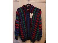 Unused jumper, IT Design early 1990's Wool Bright pattern
