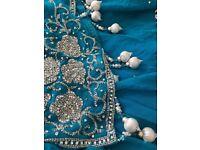 Turquoise swarovski crystal sari