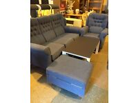 AS NEW -lovely suite,,,sofa,armchair,,footstool