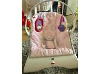 Fisher-Price Comfort Bouncer pink and grey - vibrating baby chair