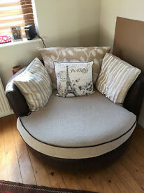 Beige/brown Spinney Love Seat & Storage Footstool