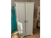 Lovely shabby chic farmhouse style pine double wardrobe – safe doorstep delivery