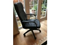 Black leather office chair - excellent condition