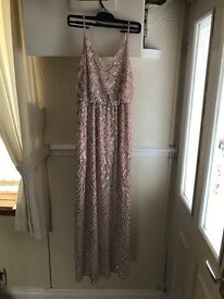 Long sequin ball gown Quiz dress pale pink size 10