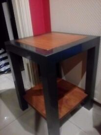 Side table metal and wood , sturdy and heavy in good condition
