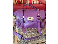 Designer Style Purple Leather Handbag Bag