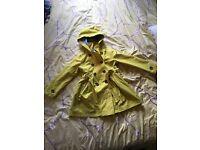 John Lewis yellow cotton mac coat age 5