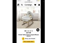 Grey leopard print Moses basket with rocking stand