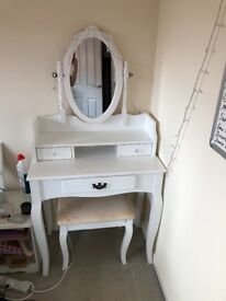 White dressing table with mirror & stool