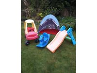 4 Kids Garden Outdoor Toys - Little Tikes Car and Rocking Horse, Slide and Shark Tent