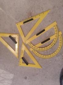 Large protractors and set squares