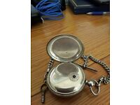 solid silver pocket watch & silver albert chain. chronmeter maker to the admiralty.by john forrest
